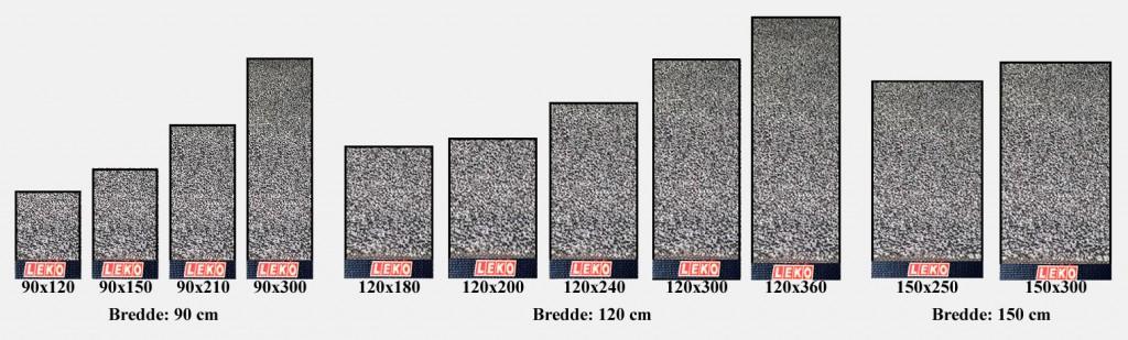 Størrelser gulvmatter