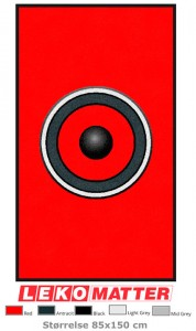 Rød logomatte emblem-foto